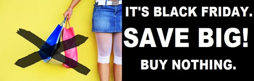 black friday save big buy nothing shopping bags